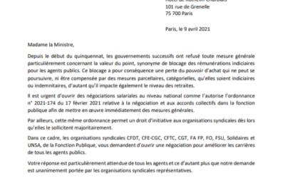 Lettre intersyndicale à la ministre de la transformation et de la fonction publique