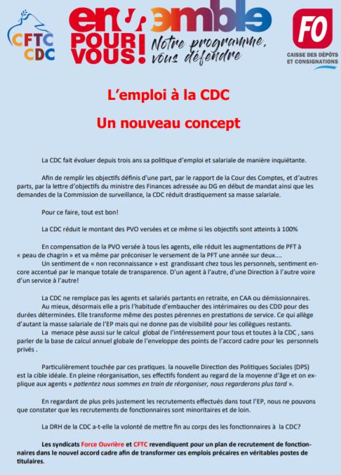 Tribune CFTC FO avril 2021 : Prime «deuxièmes lignes» +L'emploi à la CDC, un nouveau concept.