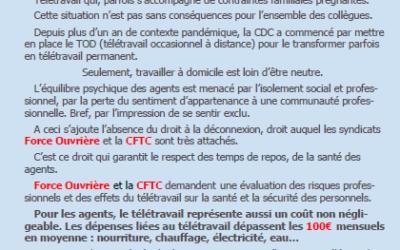 Tribune CFTC FO mai 2021 : Télétravail